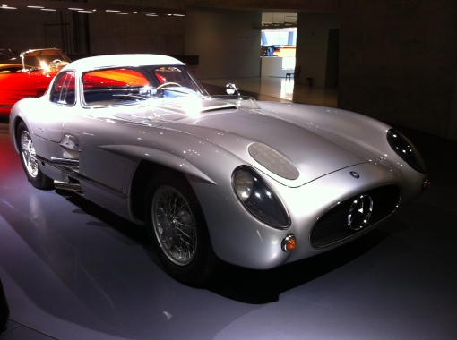 "The 1955 MB 300SLR ""Uhlenhaut Coupe"". A hard top version of the Moss / Jenkinson car intended for use in 1956. It never raced after MB's withdrawal from racing in 1955 and instead became the company car of MB chief engineer Rudi Uhlenhaut!"